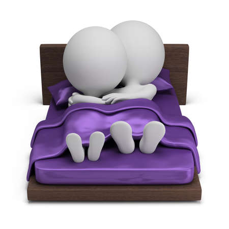 3d small people - couple lying on a bed in an embrace under the purple silk quilt. 3d image. Isolated white background.