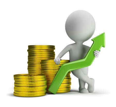 3d small person standing next to a stack of gold coins and holding a green up arrow. 3d image. Isolated white background. Stockfoto