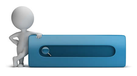 search bar: 3d small person standing next to the search bar. 3d image. Isolated white background. Stock Photo