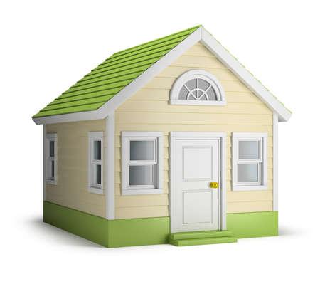 미국의 집. 3D 이미지. 격리 된 흰색 배경.