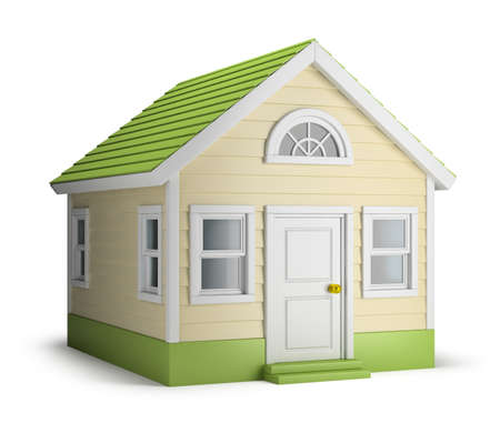 residences: American house. 3d image. Isolated white background.