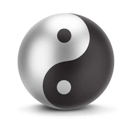 記号の yin ヤン。3 d イメージ。孤立した白い背景。