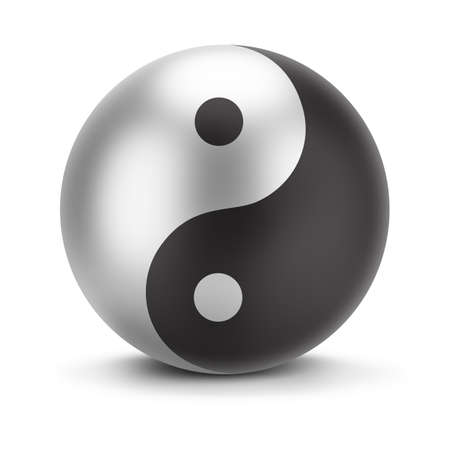 yin y yan: firmar yin yang. Imagen en 3D. Aislado fondo blanco. Foto de archivo