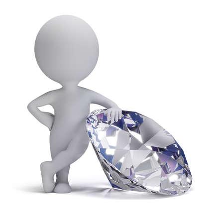 큰 다이아몬드 3D 이미지 옆에 서있는 3d 작은 사람이 흰색 배경에 고립