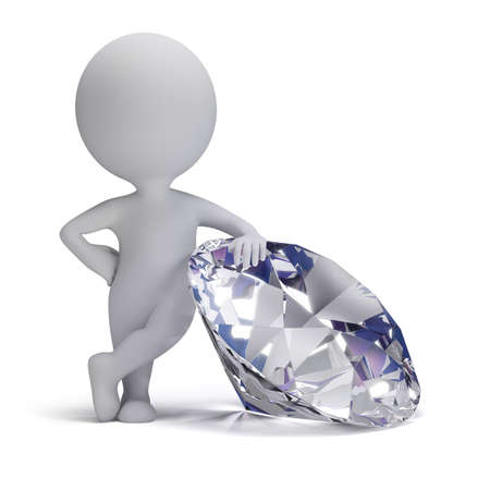 business value: 3d small person standing next to a big diamond  3d image  Isolated white background