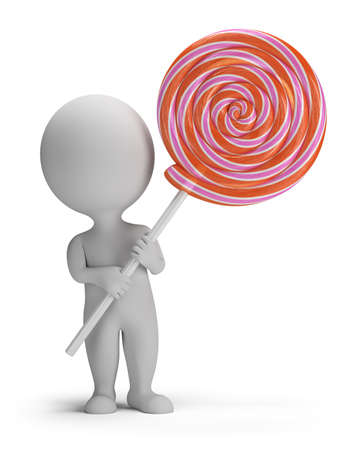 sugary: 3d small person holding a big lollipop  3d image  Isolated white background  Stock Photo