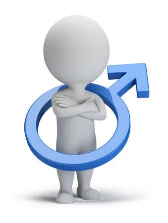 남성의 상징 3D 이미지 격리 된 흰색 배경 안에 3d 작은 사람