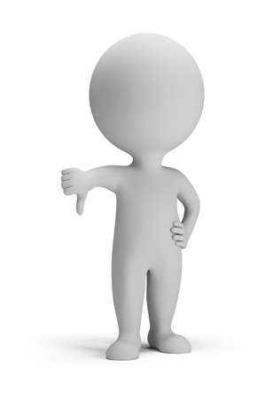 thumbs down: 3d small person - thumb pointing down  3d image  Isolated white background