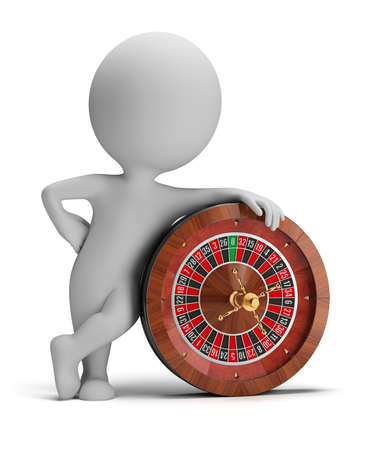 3d small person standing next to a roulette  3d image  Isolated white background  Stockfoto