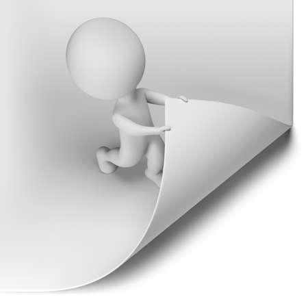 small paper: 3d small person - scroll the large page  3d image  Isolated white background  Stock Photo
