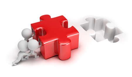 큰 퍼즐 3D 이미지 격리 된 흰색 배경을 밀어 3D 작은 사람 스톡 콘텐츠