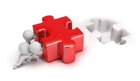 3d small people pushing big puzzle  3d image  Isolated white background