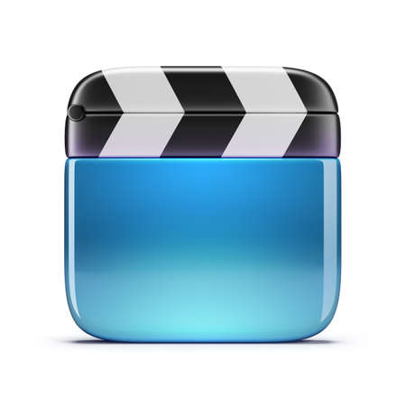 Glass cinema clapper  3d image  Isolated white background  photo