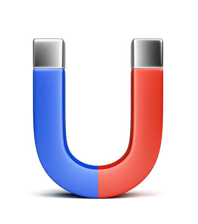 polarity: magnet painted in blue and red colors  3d image  Isolated white background