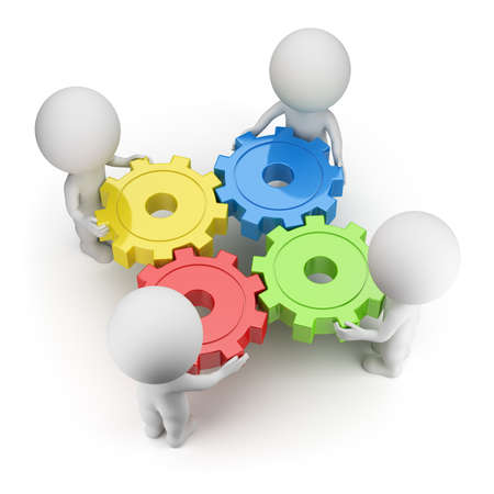 small group: 3d small people twist colorful gears. 3d image. White background.