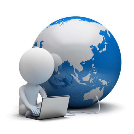 downloading: 3d small person working on a laptop next to the globe. 3d image. White background.