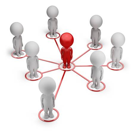 blog: 3d small people - concept of partnership network. 3d image. White background. Stock Photo