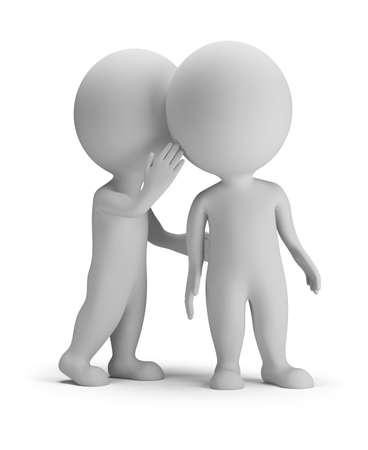 gossip: 3d klein persoon fluistert in zijn oor aan een andere persoon. 3d beeld. Witte achtergrond.