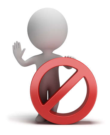 forbidden: 3d small person standing next to a stop sign. 3d image. White background. Stock Photo