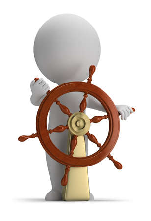 3d small person at the helm  3d image  White background  Stockfoto