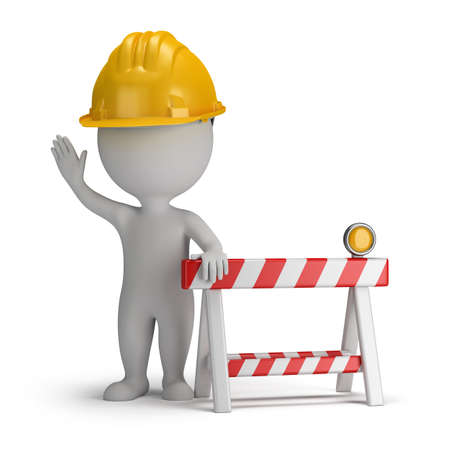 construction safety: 3d small person in a helmet in the stop position, close to the limit stop  3d image  White background  Stock Photo
