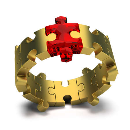 team vision: Gold ring with a ruby ​​Jigsaw puzzles. 3d image. White background.