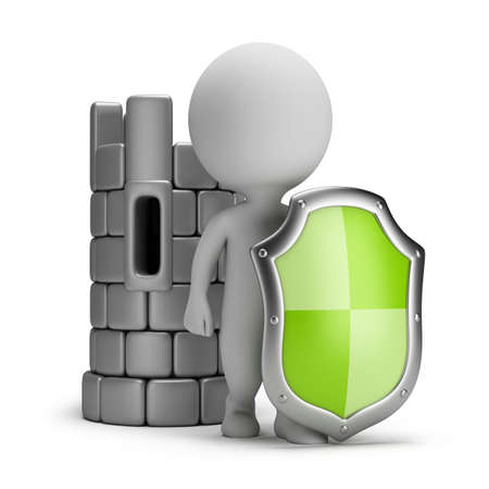 3d shield: 3d small person with a shield near the Castle. 3d image. White background.