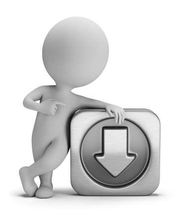 web application: 3D piccola persona in piedi al download del segno. Immagine 3D. Sfondo bianco.