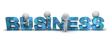 3d petites gens collectionnent les puzzles du mot BUSINESS image 3d blanc fond