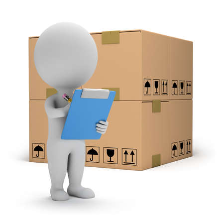 3d small person with clipboard and boxes  3d image  White background