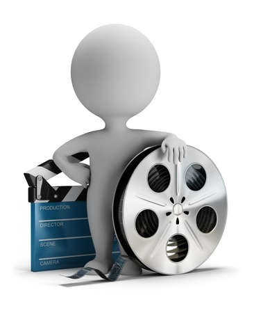 3d small person standing next to cinema clapper and film tape 3d image. White background. Stockfoto