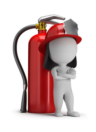 3d small person - fireman standing next to a large extinguisher. 3d image. White background.