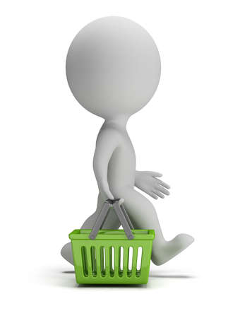 3d 작은 사람이 녹색 쇼핑 바구니와 함께 간다. 3D 이미지. 흰색 배경입니다.