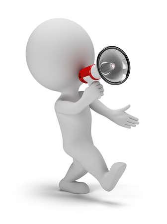 3D kleine Person rufen durch ein Megaphon. 3D-Bild. Weiß Hintergrund. Standard-Bild - 20458961