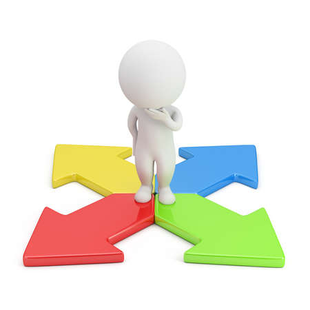 3d small person in a thoughtful pose standing on colorful arrows. 3d image. White background. Stock Photo
