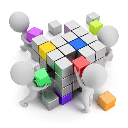 cubo: 3d peque�a gente - concepto de la creaci�n. Imagen en 3D. Fondo blanco.