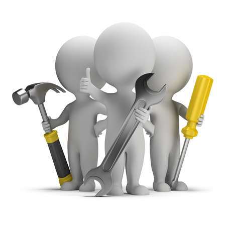 3d small people - three repairman with tools. 3d image. White background. photo