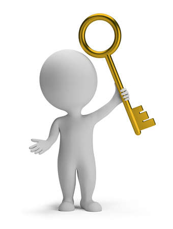 house keys: 3d small man holding a golden key. 3d image. White background.