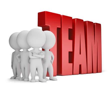 Group of 3d small people standing next to the word team. 3d image. White background.