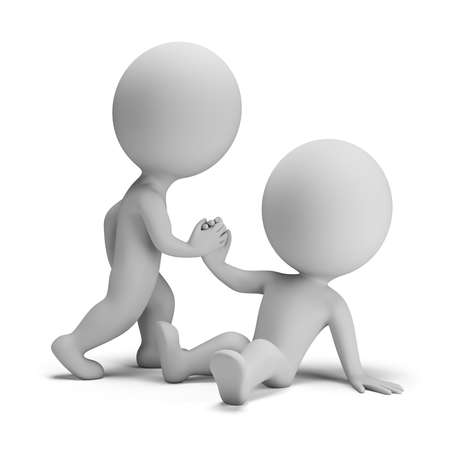 amigo: 3 ª persona pequeña ayuda a otro a ponerse de pie. Imagen en 3D. Fondo blanco. Foto de archivo
