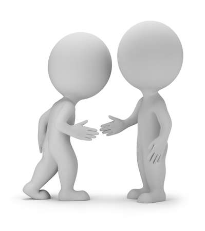 relation: 3d small person - handshake  Agreement  3d image  White background  Stock Photo