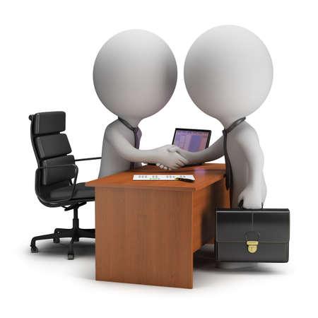 persona: Dos personas 3d pequeñas han firmado el acuerdo junto al escritorio 3d imagen de fondo blanco