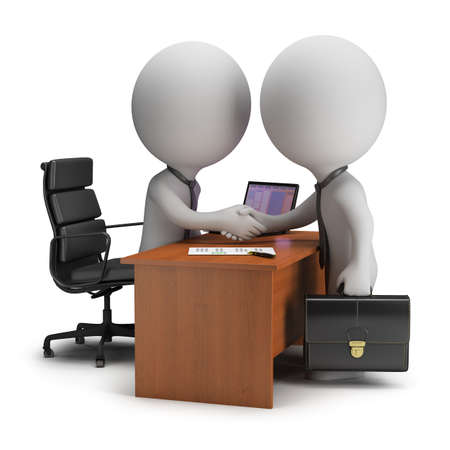 Two 3d small people have signed the agreement near the desk  3d image  White background