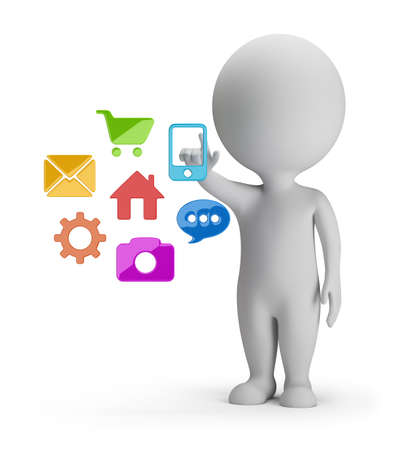 3d small people choosing mobile application  3d image  White background