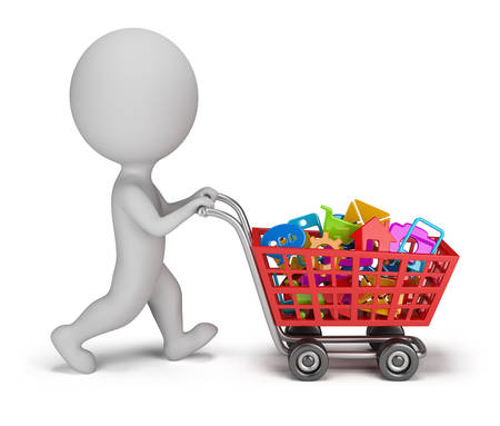 3d small person with a cart buys mobile applications  3d image  White background  photo