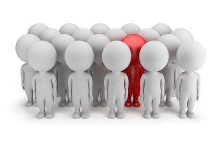 3d kleine persoon - onderscheidt zich in een menigte van mensen in rode 3d beeld Witte achtergrond