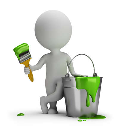 3d small person with a brush and a bucket of paint  3d image  White background
