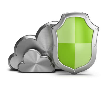 Shield protects the steel clouds  3d image  White background  Stock Photo