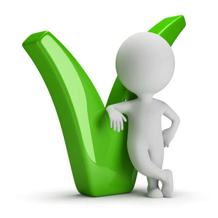 green tick: 3d small person leaning on the green tick  3d image  White background  Stock Photo