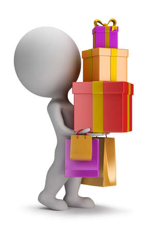 3d small person carries a stack of gifts  3d image photo